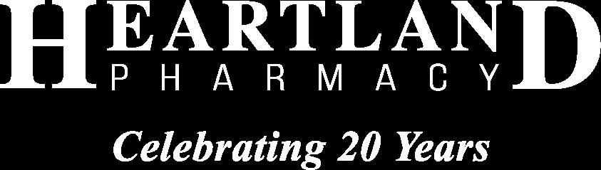 Heartland Pharmacy Celebrating 20 Years white logo